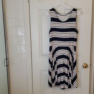 Charming Charlie red, white, and navy Dress